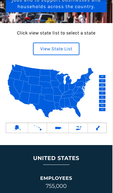 Mobile View of US Map